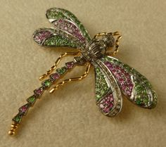 Suffragette Diamond Peridot Pink Quartz Dragonfly Gold Brooch