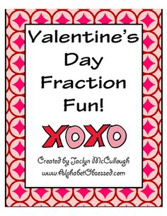 Valentines+Day+Fractions-+Worksheets+and+Game!+from+Mrs.+McCullough's+Class+on+TeachersNotebook.com+-++(8+pages)++-+This+fraction+pack+includes+Valentines+themed+fraction+worksheets+and+game+with+cute+clip+art+on+each+page.  Students+will:+ -+Recognize+fractions+(how+many+hearts+are+shaded/not+shaded?) -+Color+in+fractions+(color+stripes+on+hearts) -+Write+fractions+in