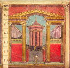 Murales romanos. Estilo Arquitectónico, se desarrolla durante el s.I a.C. imita no solo revestimientos sino también arquitectura, busca profundidad y perspectiva. Esto hace que las estancias parezcan más grandes. Las paredes se pintan con vistas panorámicas de jardines y arquitecturas imaginarias.