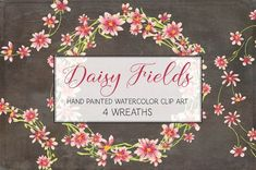 Watercolor wreath of pink daisies by Lolly's Lane Shoppe on @creativemarket