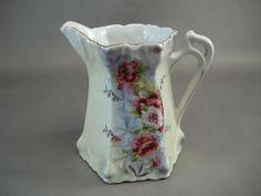 Antique Porcelain Hand Painted Floral Luster Creamer