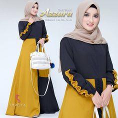 Azzura Dress Col : Yellow, Purple, Bottol Mat : Moscrepe Ukuran : All Size fit to xl . Hijab Fashion, Fashion Outfits, Womens Fashion, Fashion Trends, Jake T, Muslim Dress, Pinterest Popular, Outfit Posts, Glamour