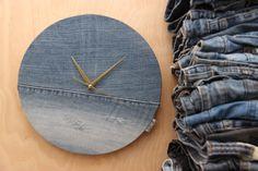 Denim wall clock , upcycled denim handmade clock , simple wall clock , minimalist wall clock , modern wall clock , wall decor , wall clock by SecondBirthday on Etsy