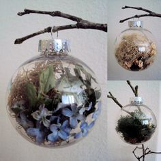 Set of Four Woodland Christmas Baubles by ElizabethanFolkArt