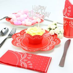 12 Guest Served Red Disposable Doily Lace Party Tableware Pack for Birthday and Celebrations /Disposable plates are made from heavy cardboard for main course , salad and dessert.#red #party #decoration #love #lace