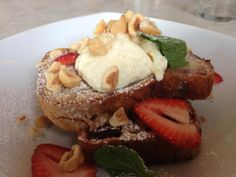 Cafe Lua, strawberry and rhubarb bread with hazelnuts. Ooooyea.