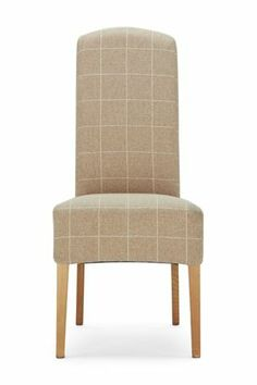 Set Of 2 Sienna Natural Check Fabric Dining Chairs From The Next Uk Online