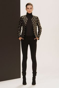 Pierre Balmain: Grommetted black collarless jacket. Gurr, you are singin' my song.