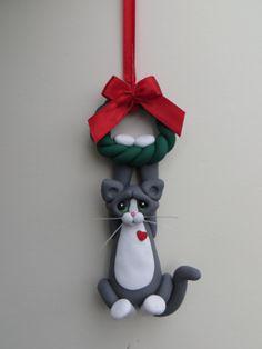 Gray Tuxedo Cat Christmas Ornament Polymer Clay by HeartOfClayGirl, $16.95