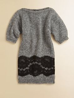 FOR MY NIECE who's turning into a little lady, and a teenager... a thick (yet chic) wool dress to keep those teenage boys away. ;) [Dolce & Gabbana - Girl's Lace Sweater Dress] Saks.com