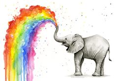 Baby Elephant Spraying Rainbow Watercolor by OlechkaDesign on Etsy