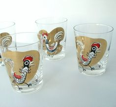 Vintage Rocks Glasses Cocktail Eames Rooster by VintageZen on Etsy