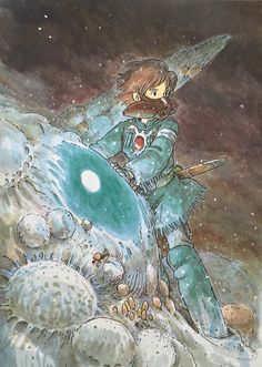 Illustrations done for the Nausicaa manga ===== Manga began running in monthly 'Animage' in Feb. 1982, collected in order of appearance ===== Notes: It's much easier to draw pictures that are taking place within the story. I drew this at a smaller size than the other manga covers because I thought it would work well enlarged. I'm not an illustrator, & I've never cared if my lines turn out looking sharp or not. I tend to want my lines to vanish completely.