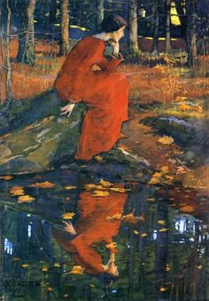 "The Leaf | Elizabeth Stanhope Forbes #English, 1859-1912 Medium: Painting - watercolor on paper | Location: Private collection ""Where the wind carries me, I go without fear of grief. I go whither each one goes, Thither the leaf of the rose, And thither the laurel leaf."""