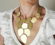OOAK statement necklace, 24ct gold plated,bib necklace,statement jewelry. $120.00, via Etsy.