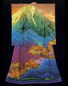 Itchiku Tsujigahana  He painted his beloved mount Fuji in all lights and seasons to make a symphony of light and colour. Each kimono is a complete painting in it's own right yet is also part of a sequence in which the landscape changes through the seasons. So trees gradually change through autumn colours, snow comes to the mountains and the light changes through every concievable harmony,