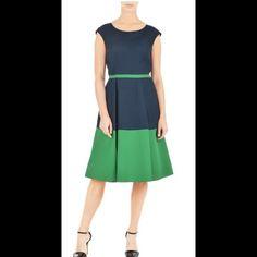 "New Eshakti Colorblock Fit & Flare Dress 20W New Eshakti navy & green colorblock retro style fit & flare dress Size 20  Measured flat: underarm to underarm: 44"" Waist: 40""  Length: 40""  Eshakti size chart for bust size 20: 47"" Scoop neck, dolman cap sleeves, bodice darts to shape, piped waist. Side hidden zipper, wide-box pleated skirt, side seam pockets. Cotton, woven poplin, pre-shrunk, smooth finish, light crisp feel, no stretch, mid-weight. Machine wash. eshakti Dresses"