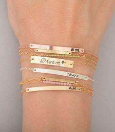 Gold Bar Bracelet Bar Bracelet Name Engraved by CustomBrites