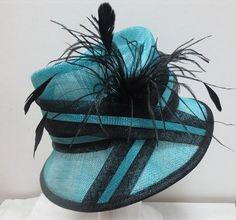 Ladies Turquoise & Black Narrow Brim Hat,Races,Wedding,Equine,Show,Hat Making