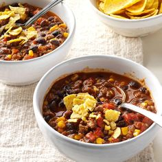 Taco Stew Recipe -Sure, the ingredients are simple, but together they make this awesome stew. Bake a quick pan of cornbread to eat on the side. It's perfect for sopping up what's in your bowl. Meat Recipes, Mexican Food Recipes, Dinner Recipes, Cooking Recipes, Chili Recipes, Dinner Soups, Dinner Ideas, Mexican Meals, Hamburger Recipes