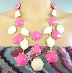 Gold with light peach and fuchsia geometric resin bib statement necklace on Etsy, $14.99