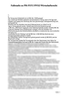 Fallstudie zu PR-FSTU19NX3 Wirtschaftsrecht für staatl. gepr. Betriebswirte: Ferner hat der Gläubiger die Möglichkeit, Ersatz des sog Punitive Damages, Case Study, High School Graduation