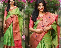 Women's Heavy Cotton Silk Cgreen and pink saree with | Etsy Silk Wrap Nails, Ballerina Nails, Banarasi Sarees, Lehenga, Pink Saree, Layered Look, Cotton Silk, Sari, Stylish