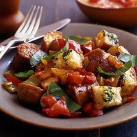 Italian Sausage Supper Stuffing - Rachael Ray Every Day Sausage Recipes, Cooking Recipes, Pork Recipes, Sausage Meals, Bratwurst Recipes, Sausage Stuffing, Chicken Sausage, Cooking Videos, Pasta Recipes