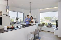 Küche Modern Weiß Mit Kochinsel   Küchen Ideen Inneneinrichtung WeberHaus  Generation 5.5 Haus 110 Fertighaus