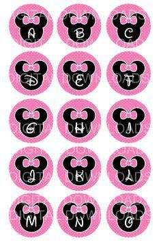 "free minnie mouse printables   Disney Minnie Mouse Alphabet Bottle Cap 1"" Circle Digital Download ..."
