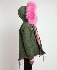 - Khaki parka jacket with multi-pink fur lining from Mr & Mrs Furs.