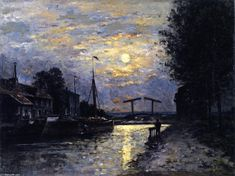 Stanislas Lepine France) Canal in Saint-Denis, Effect of Moonlight, Oil On Canvas Nocturne, Saint Denis, France Art, Great Paintings, Meet The Artist, Painting Gallery, Art Reproductions, Art And Architecture, Paris