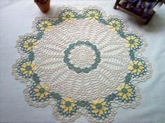 Yellow Daisies Crochet Lace Thread Art Doily by crochetbymsa, $24.95