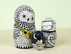 Owl and the Pussycat Nesting Dolls by Clara Cline, via Behance