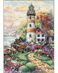 This coastline sentinel stands against a breathtaking morning sky. A combination of Cross and Half Cross Stitch achieves the realistic color shading in the sky and garden.  An extensive palette of cotton thread worked on 18 count ivory Aida brings this guardian of the rocky shore to life. Look for the related design in counted cross stitch, kit #6779. <br><br>Kit contains cotton thread, 18 count ivory Aida, needle and easy instructions.
