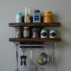 """Industrial Rustic Modern 2 Tier Floating Shelf Spice Rack with 18"""" Pot Rack Bar and 5 Stainless Steel Hanging S Hooks"""