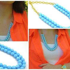 Vintage Blue Chez Glass Necklace by Tasha Hussey Jewelry on Opensky