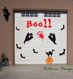 Awesome Door Halloween Decoration Ideas For 2017 341 Garage Door Halloween Decor, Garage Door Decor, Halloween Door Decorations, Halloween Porch, Halloween Haunted Houses, Halloween Boo, Outdoor Halloween, Holidays Halloween, Halloween Crafts