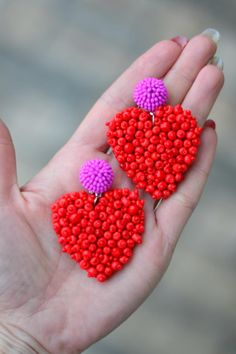 Heart earrings embroidered beaded Red Hot pink Fashion cora trendy Chunky love clip on earrings Rebecca de Ravenel Statement jewelry Bar Stud Earrings, Silver Hoop Earrings, Heart Earrings, Beaded Earrings, Clip On Earrings, Beaded Jewelry, Handmade Jewelry, Ruby Jewelry, Statement Jewelry