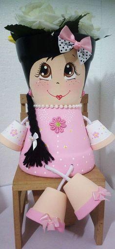 Linda boneca rosa em vaso de ceramica. Pronto para plantar. Sua casa muito mais charmosa! - B3E198