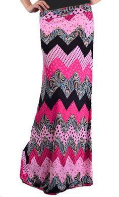 Modest Skirts - Womens Multi print Chevron Maxi Skirt