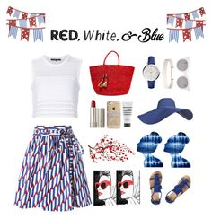 """red,white,&blue"" by littlelook on Polyvore featuring Thakoon, Dorothy Perkins, Marc Jacobs, Sensi Studio, Ilia, Agent 18, Pirette, Oliver Gal Artist Co., FOSSIL and Humble Chic"