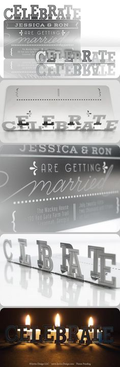 """Metal wedding invitation mails flat and then folds into a sculpture featuring the word """"CELEBRATE."""" Great party or anniversary invitation as well. http://www.invite-design.com/#!product/prd12/2202303155/celebrate-invitation"""
