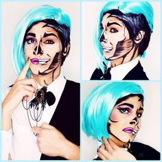 #half_man#half_woman#comic#pop_art#facepainting#make_up facebook_page: @mariah make up artist