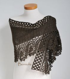 Crochet shawl scarf lace Chocolate brown by Berniolie on Etsy