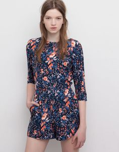 Pull&Bear - woman - dungarees and jumpsuits - floral jumpsuit dress with v-neck back - blue - 05392353-V2015