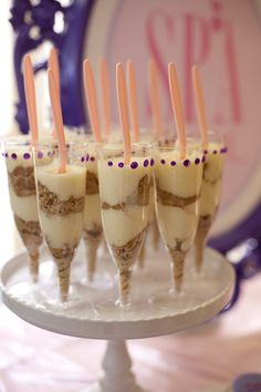 SPA girl birthday party so cute and easy just yogurt and granola in fun glasses; add fruit to top?