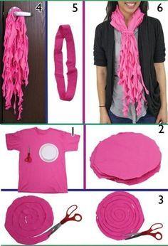 8 DIY Cool Fashionable Ideas on How to Make a Infinity Scarf #DIYScraf #TshirtScraf