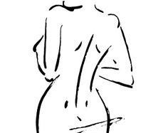 Original Feminine Charcoal Sketch Female Figure by FormElation