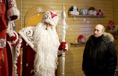 Putin visits the residence of Father Frost, the Russian equivalent of Santa Claus, in the Russian town of Veliky Ustyug on Jan. 7, 2008.